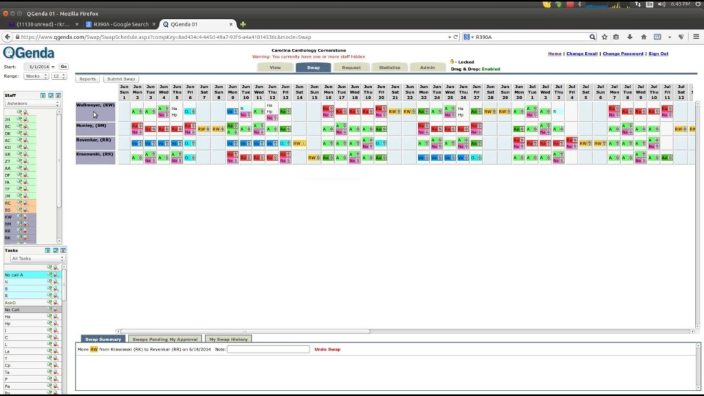 QGenda Practise Management Software Screenshot