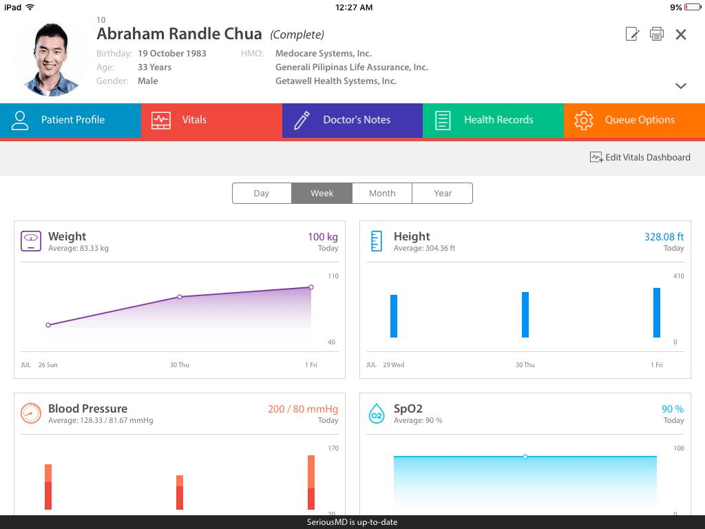SeriousMD Practise Management Software Screenshot